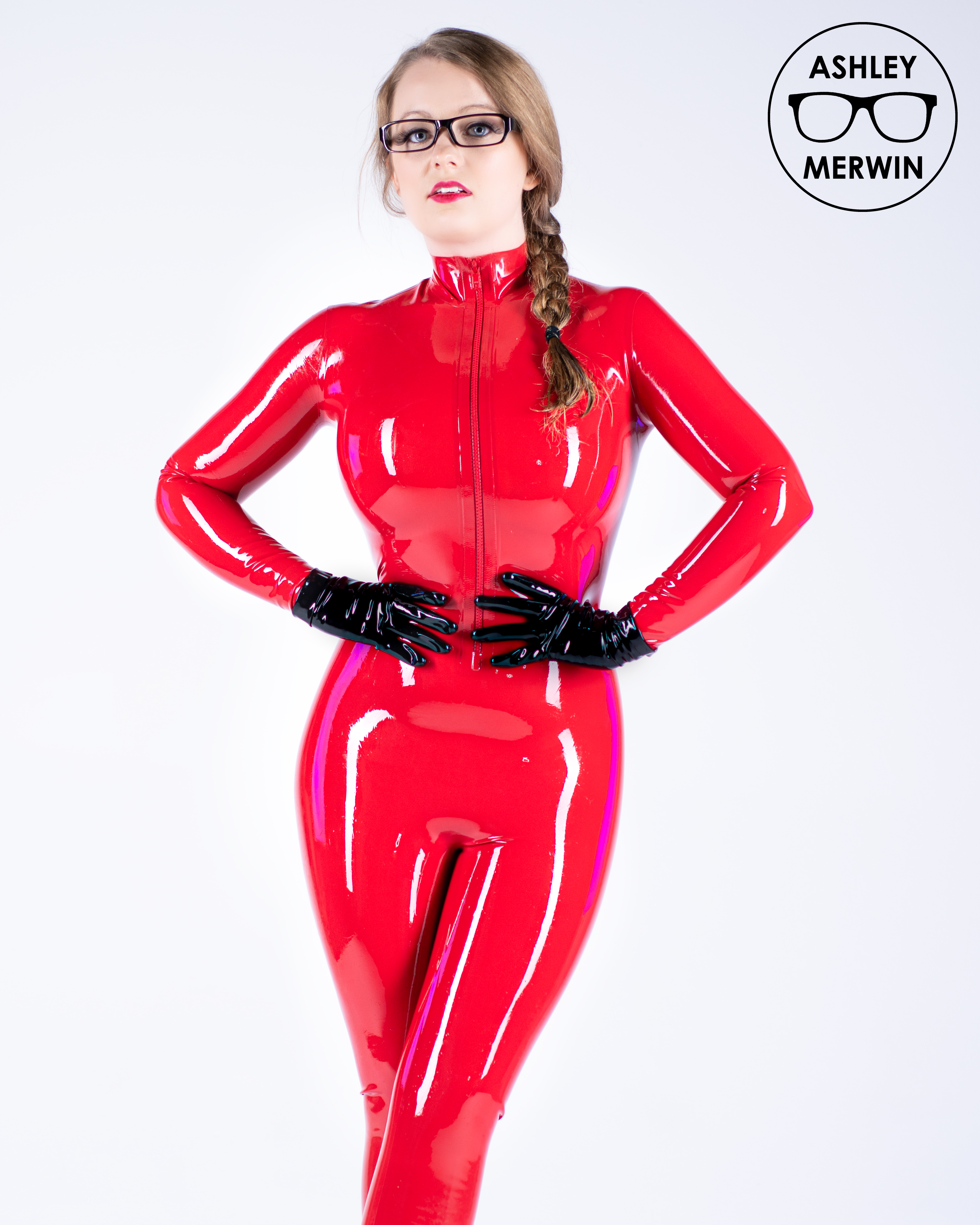 Ashley Merwin In Red Catsuit 💘💜💕💗❤💞