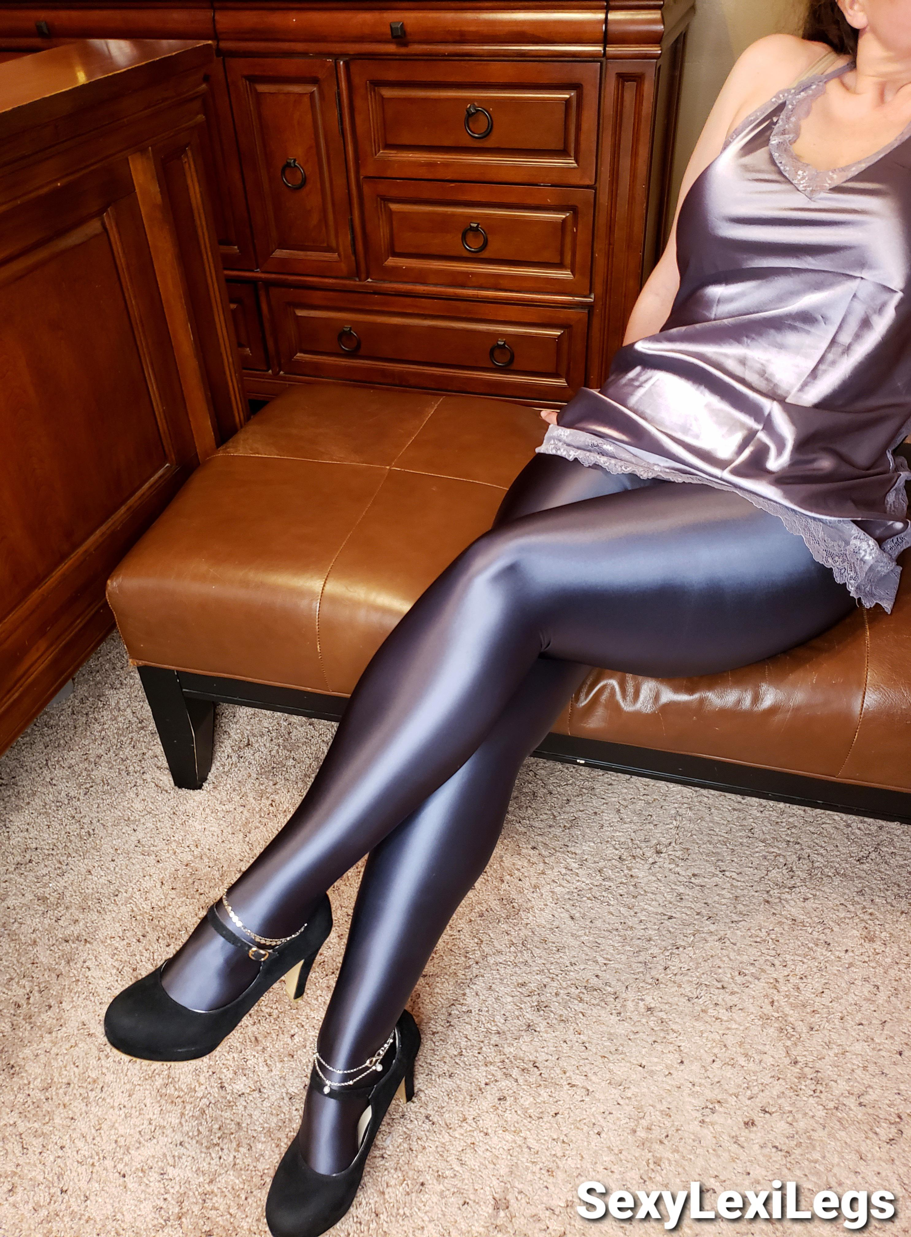 Me Wearing Shiny LEOHEX Tights, Silky Nighty, And High Heels! They Feel As Amazing As They Look! 😍