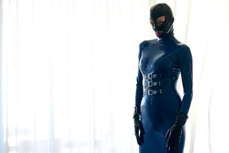 Blue Hobble Dress With Corset Built In. Its So TIGHT But So Hot.. There Is More Of This Series :-)