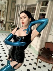 Blue Opera Gloves In Latex