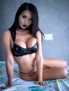 Chilling In A Black Shiny Lingerie