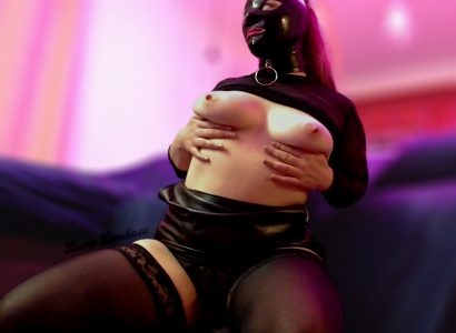 Collared, Hooded, Tits Out, And Wondering Where My Nipple Clamps Are…