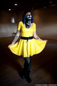 Didi Ou In A Yellow Latex Dress