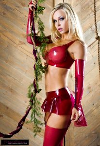 Jenny Poussin In Red See-through Latex