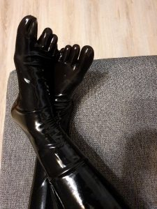 Latex Socks And Catsuit In The Evening