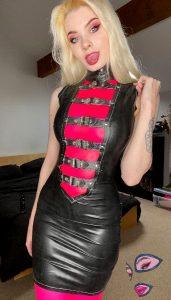 LatexSquid In Westward Bound Scandal Buckle Dress In Black And Libidex Leotard In Translucent Pink