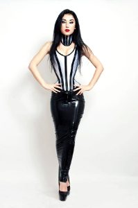 Marilyn Yusuf In Latex Hobble Skirt And Tight Corset + Neck Corset