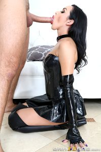On Her Knees In Shiny Black