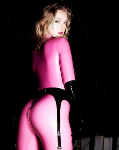 Pink Catsuit And Suspender Belt