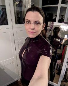 Purple Latex Bodysuit And Faux Leggings