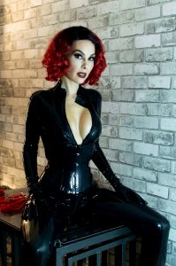 Red Hair, Black Catsuit
