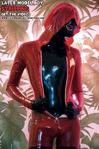 Red Jumpsuit. Black Catsuit