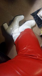 Red Latex Hobble Skirt And White Patent Boots.