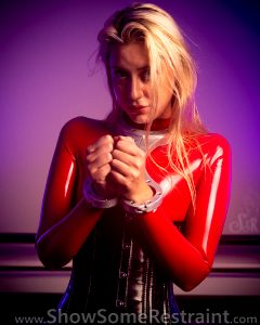 Reneelouise.xx In Metal Bondage And Red Latex