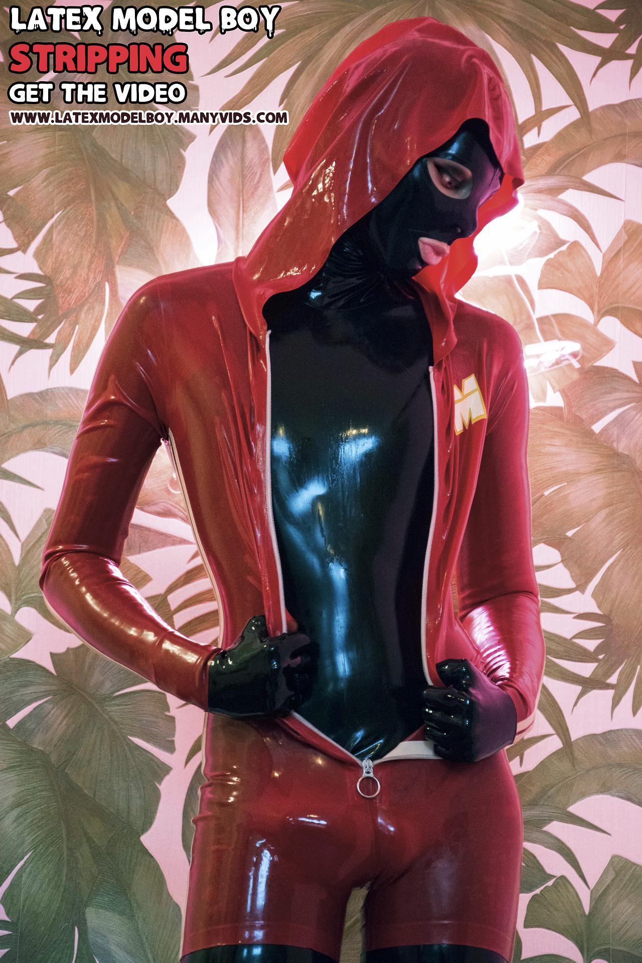 Red Jumpsuit. Black Catsuit